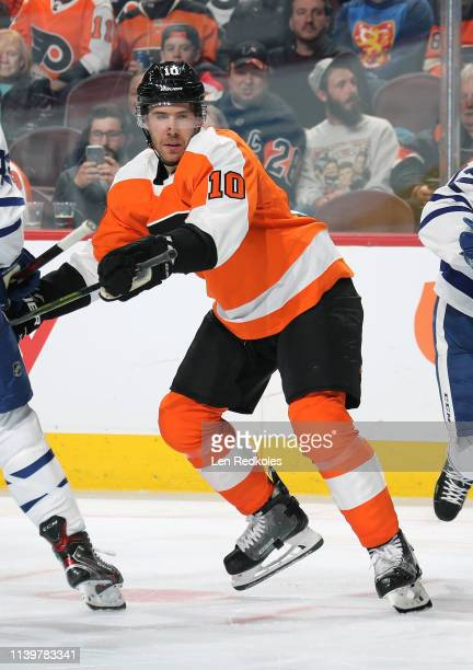 Corban Knight of the Philadelphia Flyers in action against the Toronto Maple Leafs on March 27 2019 at the Wells Fargo Center in Philadelphia...
