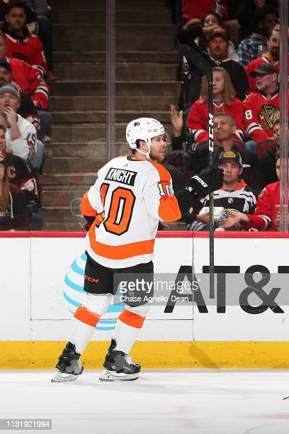 Corban Knight of the Philadelphia Flyers reacts after scoring against the Chicago Blackhawks in the first period at the United Center on March 21...