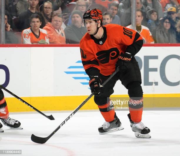 Corban Knight of the Philadelphia Flyers skates against the Buffalo Sabres on February 26 2019 at the Wells Fargo Center in Philadelphia Pennsylvania