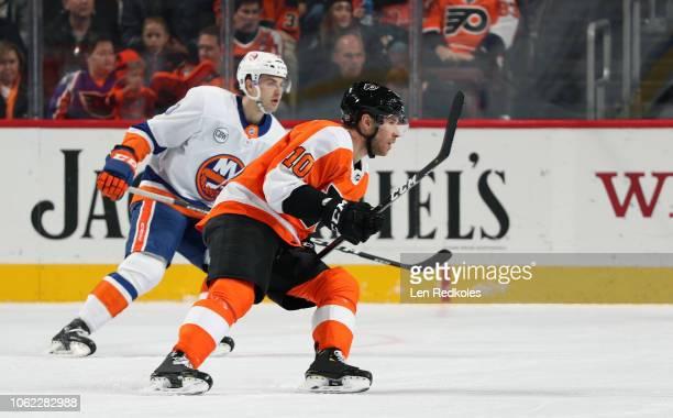 Corban Knight of the Philadelphia Flyers skates against the New York Islanders on October 27 2018 at the Wells Fargo Center in Philadelphia...