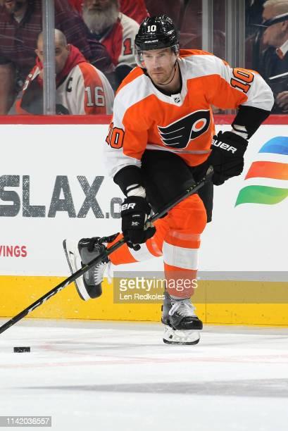 Corban Knight of the Philadelphia Flyers skates the puck against the Carolina Hurricanes on April 6 2019 at the Wells Fargo Center in Philadelphia...