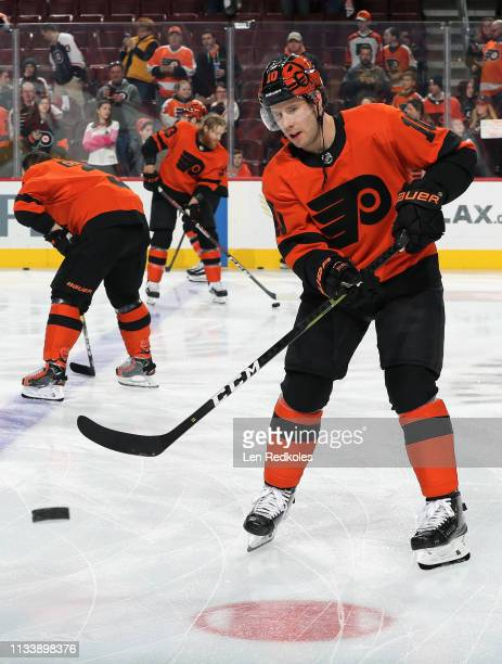 Corban Knight of the Philadelphia Flyers warms up against the Buffalo Sabres on February 26 2019 at the Wells Fargo Center in Philadelphia...
