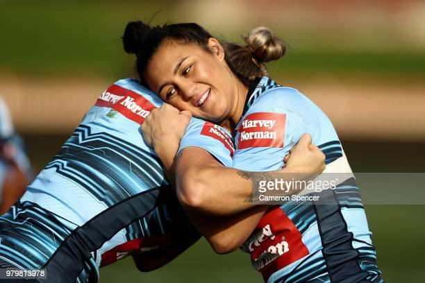 Corban McGregor of the Blues performs a drill during the New South Wales women's State of Origin captain's run at North Sydney Oval on June 21 2018...