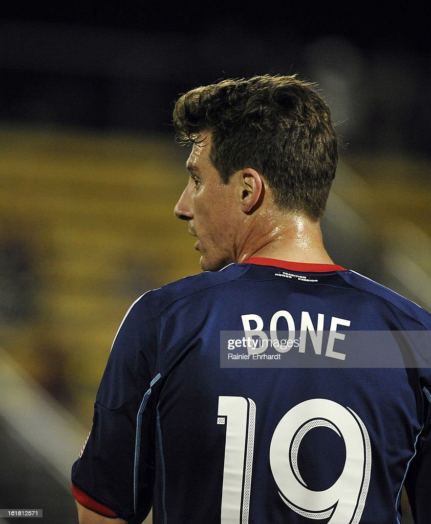 Corben Bone #19 of the Chicago Fire looks on during the second half of their game against the Houston Dynamo in the Carolina Challenge Cup at Blackbaud Stadium on February 16, 2013 in Charleston, South Carolina.