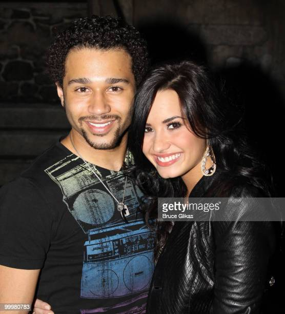 Corbin Bleu and Demi Lovato pose backstage after a performance of In The Heights on Broadway at Richard Rodgers Theatre on May 18 2010 in New York...