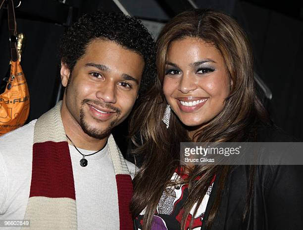 Corbin Bleu and Jordin Sparks pose backstage at the hit musical In The Heights on Broadway at The Richard Rogers Theater on February 11 2010 in New...