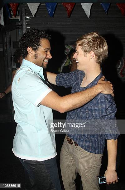 Corbin Bleu and Lucas Grabeel backstage at In The Heights on Broadway at the Richard Rodgers Theatre on August 10 2010 in New York City