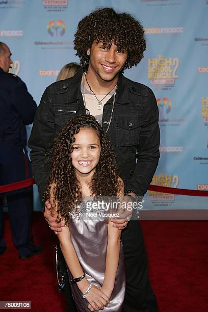 Corbin Bleu and Madison Pettis arrive at the DVD premiere of Disney's 'High School Musical 2' held at the El Capitan Theatre on November 19 2007 in...