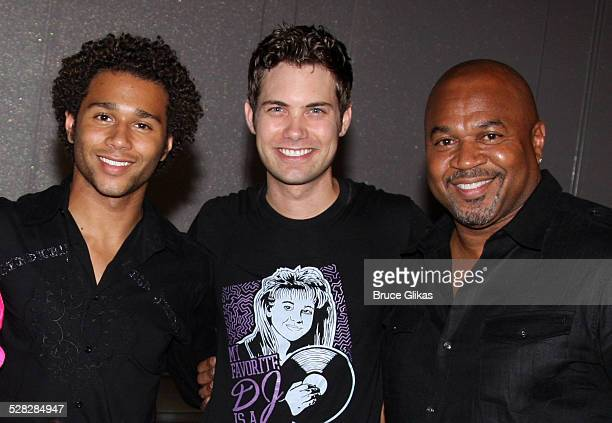 Corbin Bleu Drew Seeley and David Reivers pose backstage at The Little Mermaid on Broadway at the LuntFontanne Theatre on July 29 2009 in New York...