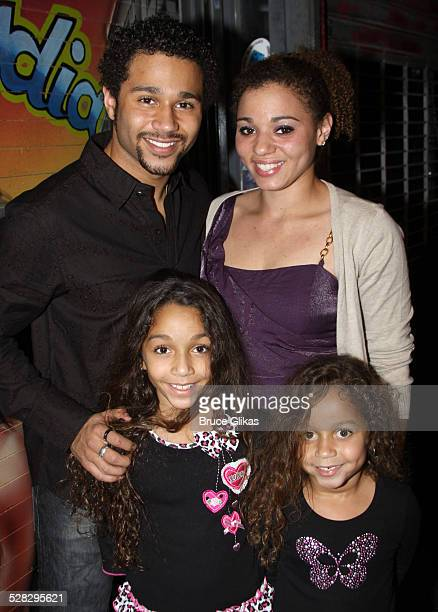 Corbin Bleu poses with sisters Jag Reivers Phoenix Reivers and Hunter Reivers as Bleu joins the cast of Broadway's In The Heights at Richard Rodgers...
