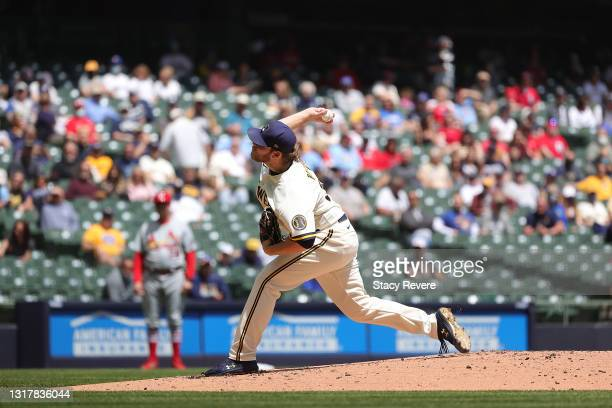 Corbin Burnes of the Milwaukee Brewers throws a pitch during the second inning to strike out Harrison Bader of the St. Louis Cardinals at American...