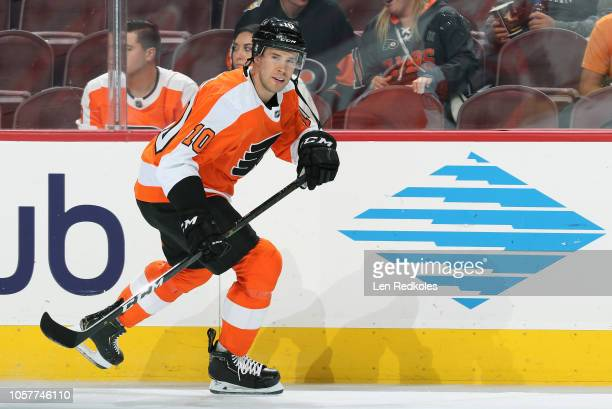 Corbin Knight of the Philadelphia Flyers warms up against the Florida Panthers on October 16 2018 at the Wells Fargo Center in Philadelphia...