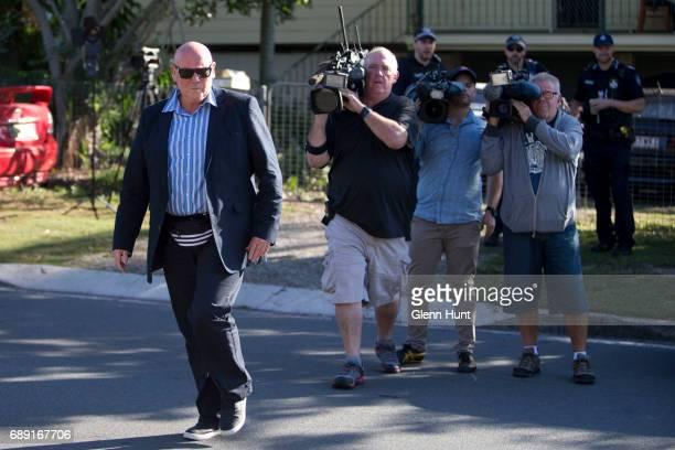 Corby bodyguard John McCleod speak to police at the house of Schapelle Corby's mother in Loganlea on May 28 2017 in Brisbane Australia Schapelle...