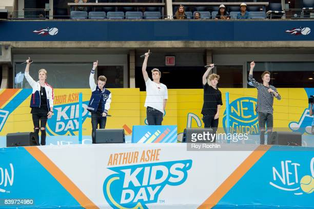 Corbyn Benson Zach Herron Jonah Marais Jack Avery and Daniel Seavey from Why Don't We perform as they perform on stage during the 22nd Annual Arthur...