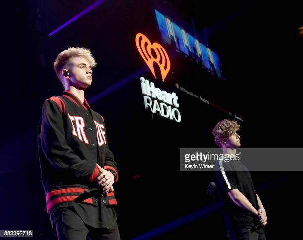 Corbyn Besson and Jack Avery of Why Don't We perform onstage at WiLD 949's FM's Jingle Ball 2017 Presented by Capital One at SAP Center on November...