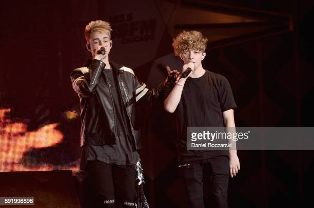 Corbyn Besson and Jack Avery of Why Don't We perform onstage during 1035 KISS FM's Jingle Ball 2017 at Allstate Arena on December 13 2017 in Rosemont...