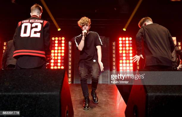 Corbyn Besson Jack Avery and Zach Herron of Why Don't We perform onstage at WiLD 949's FM's Jingle Ball 2017 Presented by Capital One at SAP Center...