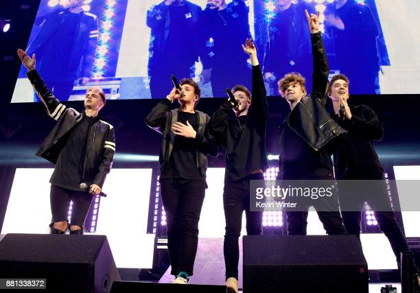 Corbyn Besson Jonah Marais Zach Herron Jack Avery and Daniel Seavey of Why Don't We perform onstage at 1061 KISS FM's Jingle Ball 2017 Presented by...