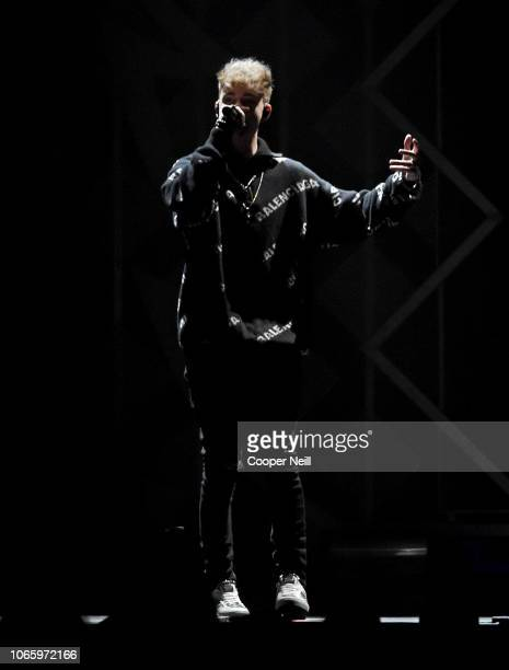 Corbyn Besson of Why Don't We perform onstage during 1061 KISS FM's Jingle Ball 2018 at American Airlines Center on November 27 2018 in Dallas Texas