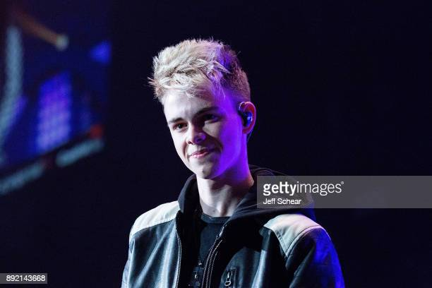 Corbyn Besson of Why Don't We performs on stage at 1035 KISS FM's iHeartRadio Jingle Ball 2017 on December 13 2017 in Chicago Illinois