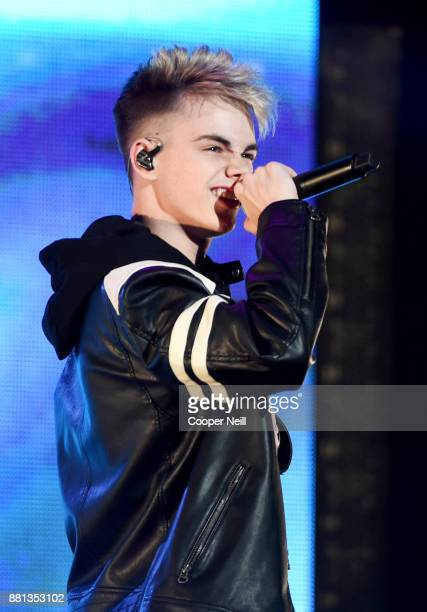 Corbyn Besson of Why Don't We performs onstage at 1061 KISS FM's Jingle Ball 2017 Presented by Capital One at American Airlines Center on November 28...
