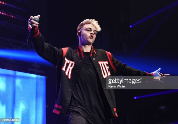 Corbyn Besson of Why Don't We performs onstage at WiLD 949's FM's Jingle Ball 2017 Presented by Capital One at SAP Center on November 30 2017 in San...