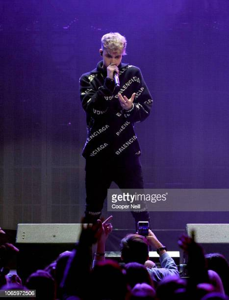 Corbyn Besson of Why Don't We performs onstage during 1061 KISS FM's Jingle Ball 2018 at American Airlines Center on November 27 2018 in Dallas Texas