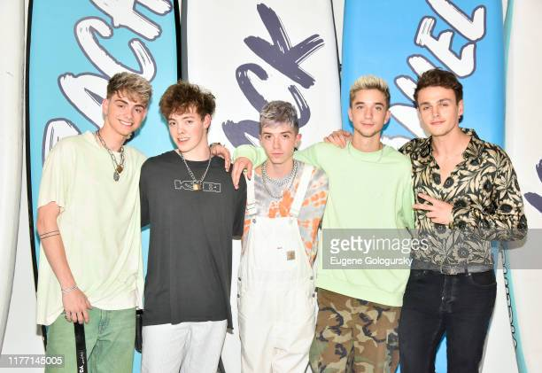Corbyn Besson Zach Herron Jack Avery Daniel Seavey and Jonah Marais of Why Don't We attend the Why Don't We New York City Pop Up on September 25 2019...