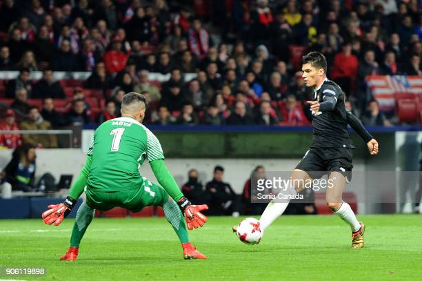 Corchia #2 of Sevilla FC and Miguel Angel Moya #1 of Atletico de Madrid during the Spanish Copa del Rey match between Club Atletico de Madrid and...
