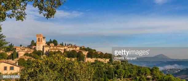 corciano, historic town in the province of perugia (umbria, italy) - umbria stock pictures, royalty-free photos & images