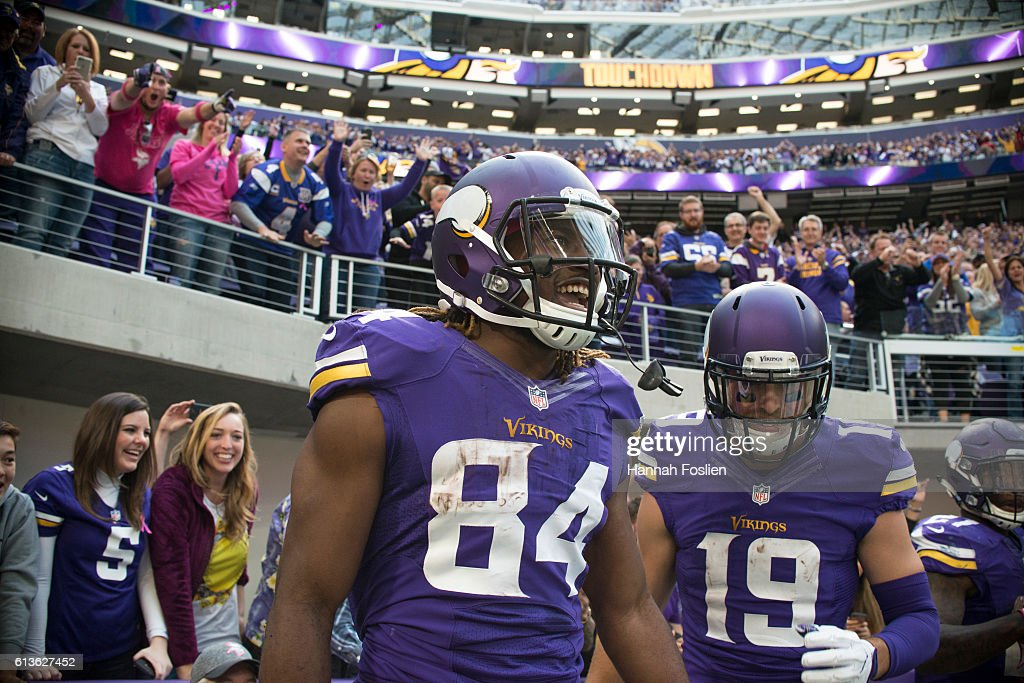 Cordarrelle Patterson #84 of the Minnesota Vikings celebrates a 9 yard catch to score a touchdown during the fourth quarter of the game against the Houston Texans on October 9, 2016 at US Bank Stadium in Minneapolis, Minnesota.