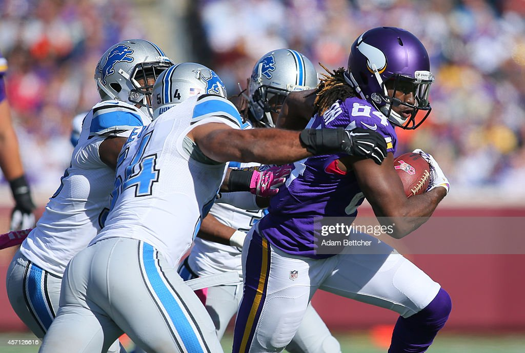 Cordarrelle Patterson #84 of the Minnesota Vikings runs the football against the Detroit Lions during the fourth quarter on October 12, 2014 at TCF Bank Stadium in Minneapolis, Minnesota.