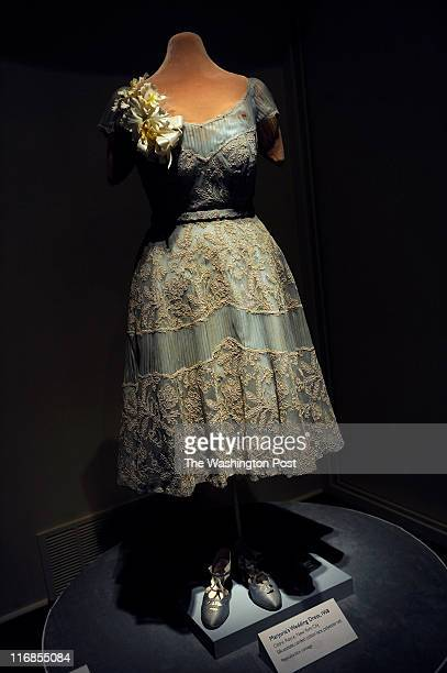 Corded Cotton Lace and polyester net adorn Majorie's Merriweather Post's Wedding Dress worn during her marriage to Oldric Royce in 1958 The dress is...