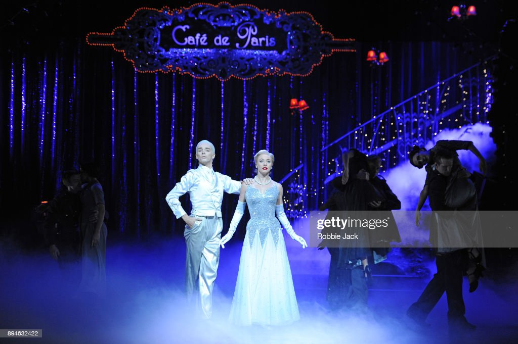 Cordelia Braithwaite as Cinderella and Liam Mower as Angel with artists of the company in Matthew Bourne's Cinderella at Sadler's Wells Theatre on December 15, 2017 in London, England.