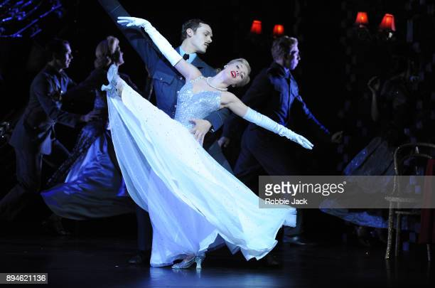 Cordelia Braithwaite as Cinderella and Will Bozier as Harry with artists of the company in Matthew Bourne's Cinderella at Sadler's Wells Theatre on...