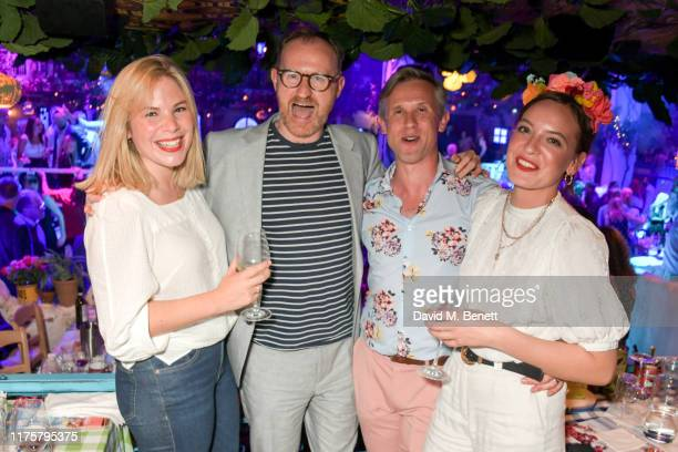 Cordelia Keeley, Mark Gatiss, Ian Hallard and Jessica Radcliffe-Brown attend the opening night of MAMMA MIA! The Party at Building 6 at The O2 on...