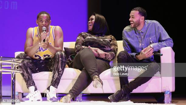 Cordell Broadus Nina Parker and Don Benjamin from left answer student questions as AHF presents the Know Your Status tour on April 26 2017 in Houston...