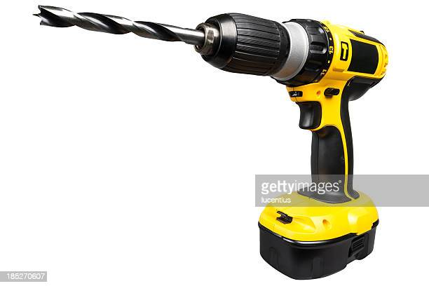 cordless electric drill isolated on white - drill stock pictures, royalty-free photos & images