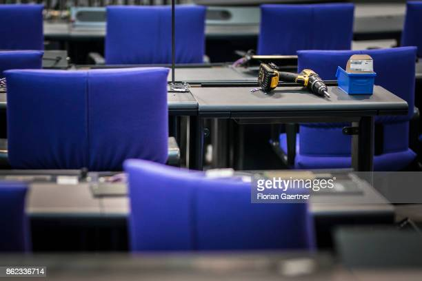 A cordless screwdriver is placed on a desk in the plenary hall at the Reichstag on October 17 2017 in Berlin Germany Following German federal...