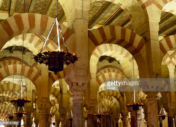 Cordoba Andalusia Spain MosqueCathedral Omeya style In 785 AbdalRahman I ordered the construction of the Great Mosque Forest of columns detail