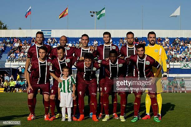 Cordoba CF line up prior to start the friendly football match between Marbella FC and Cordoba CF at Municipal Stadium on July 27 2014 in Marbella...