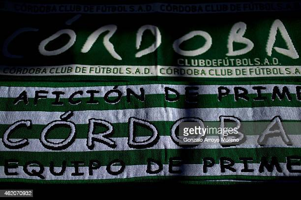 Cordoba CF scarves are displayed on a merchandaising stall before the La Liga match between Cordoba CF and Real Madrid CF at El Arcangel stadium...
