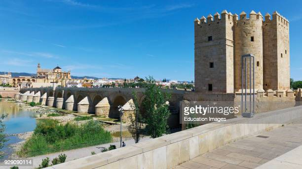 Cordoba Cordoba Province Andalusia southern Spain Torre de Calahorra Roman bridge and the mosque La Mezquita The historic center of Cordoba is a...