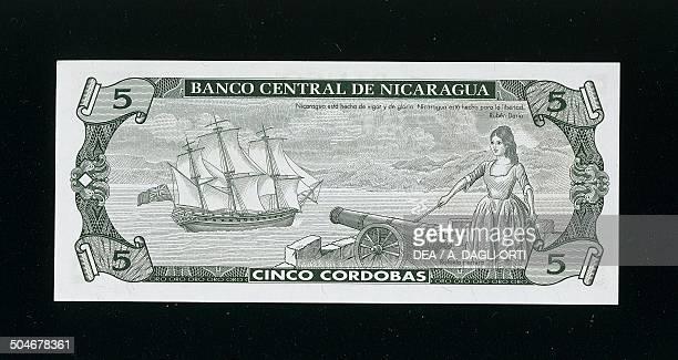 5 cordobas banknote 19901999 reverse Rafaela de Herrera y Sotomayor cannon and sailboat Nicaragua 20th century