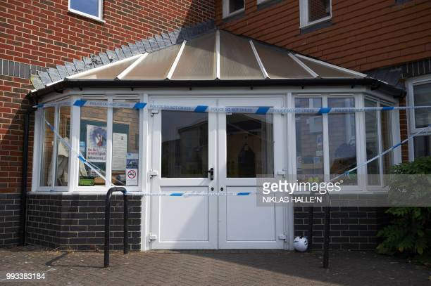 A cordon of police tape surrounds the Amesbury Baptist Centre in Amesbury southern England on July 7 2018 The exposure of an apparently random...