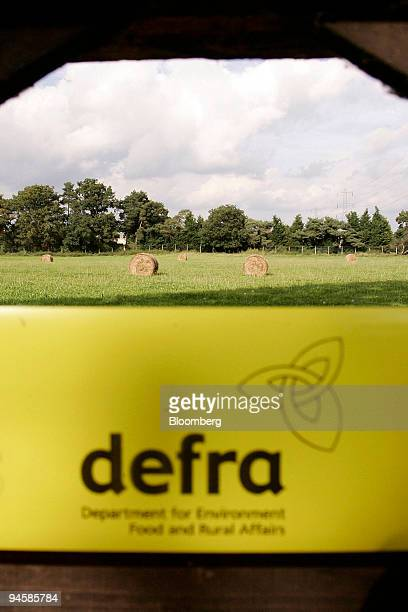 Cordon prevents access to fields leading to Papercourt Farm, where a suspected outbreak of foot-and-mouth has occurred, in Woking, Surrey, U.K., on...