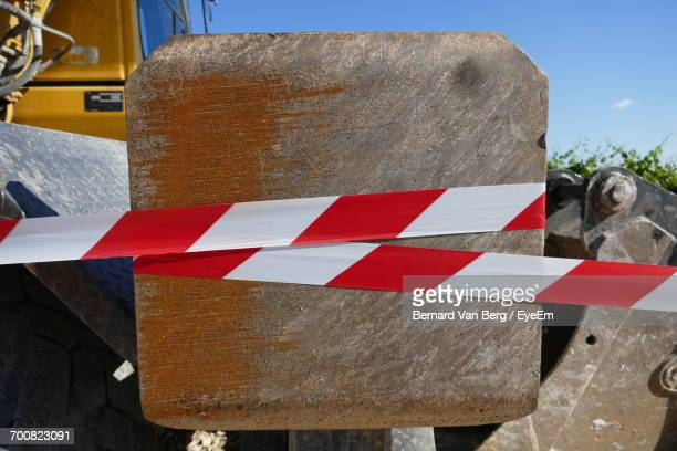 Cordon Tape On Metal At Construction Site