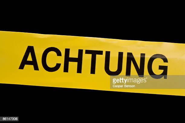 Cordon tape with ACHTUNG on it