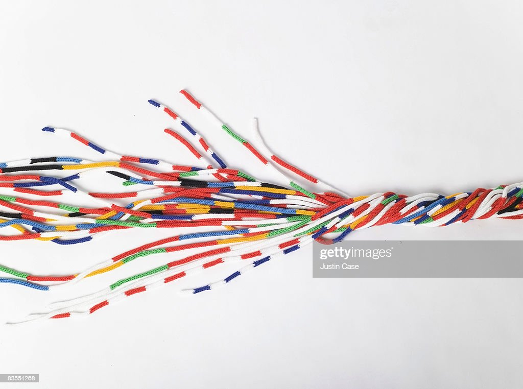 Cords of wool in the EU Colors : Stock Photo