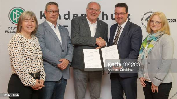 Cordula LasnerTietze Christian Zainhofer Heinz Hilgers DFB Treasurer Stephan Osnabruegge and Stefanie Schulte at DFB Headquarter on May 17 2018 in...